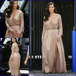 Wholesale Kim Kardashian Peplum Dresses - Custom made Deep V Neck Champagne Sexy long Evening Dress 2018 Kim Kardashian Plus Size Formal Gowns Special occasion Dresses