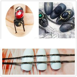 Wholesale Chain Metal Nail Art - 1 M Nail Art Decorations Nail Art Jewelry Material Drilling Metal Punk Style Black Gold Chain Nails Tool Metal Chain Chains