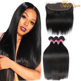 Wholesale Indian Hair Lace Frontal - Brazilian Straight Virgin Human Hair 4x13 Ear to Ear Lace Frontal With Bundles Unprocessed Brazilian Straight Hair With Frontal Closure