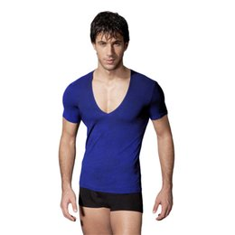 Wholesale Deep Neck T Shirts Men - Brand Elasticity Fashion Sexy Mens Deep V Neck T Shirt Tee Silm Fitness Men's Solid Casual Cotton Undershirt Male XXL Clothes