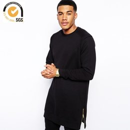 Wholesale Men S Tall - Wholesale-Mens Big and Tall Sweatshirts Men Longline Sweatshirt Crewneck Sweatshirt Side Zipper Sweatshirt Free Shipping