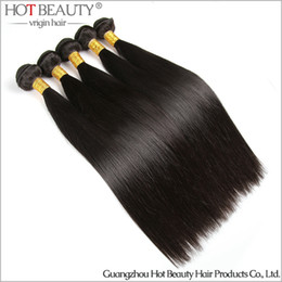 Wholesale Brazilian Virgin Hair Uk - Wholesale-5pcs lot Brazilian Virgin Hair Silky straight Hot Beauty human hair Extensions Brazilian Hair Weave Bundles, UK