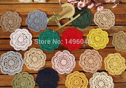Wholesale Bamboo Cup Mat - Wholesale-Free Shipping 50pcs Lot DIY Wholesale Household Handmade Flower Crochet Doilies Round Cup Mat Pad 10-11.5cm Coaster Placemats