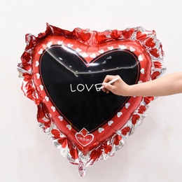 Wholesale Inflatable Boards - heart square Chalkboard Foil Balloons birthday Party Supplies Helium Inflatable Toy writing board blessing signs labels wedding
