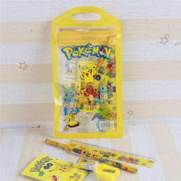 Wholesale Cartoon Erasers - Pikachu Stationery Sets Cartoon Pencil Case Children School Supplies Pencils Eraser Ruler Notebook Sharpener 6pcs Sets Free DHL 253