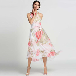 Wholesale Maxi Gown Halter Neck - 2017 New Ladies Chiffon Long Maxi Dresses Halter Sleeveless Flouncing Floral Sundress Dress For Casual Beach