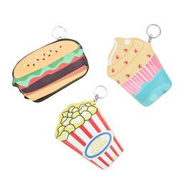 Wholesale Cartoon Hamburger - Mini Cute Coin Purses Cartoon Key Ring Wallets Accessories Hamburger Popcorn ice cream Shape Zipper Preppy Style Girl Bag Pendant LBQ449