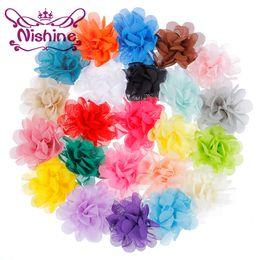 "Wholesale Mini Flower Clips - Nishine 2"" Flatback Mini Chiffon Flower For Girls Headband Hair Clips Handmade Hair Flower For DIY Headwear Hair Accessories"