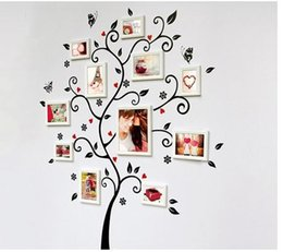 Wholesale Chic Bedroom Decor - Chic Black Family Photo Frame Tree Mural Wall Sticker Home Decor Decals
