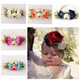 Wholesale Wholesale Artificial Flower Sticks - baby girl camellia artificial flowers hair accessories girls silk flowers headbands kids elastic nylon Hairbands newborn photography props