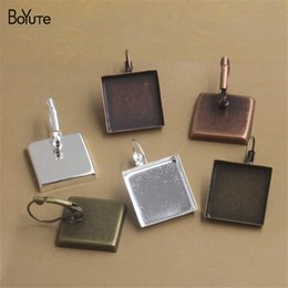 Wholesale 25mm Square Ring - BoYuTe 40 Pieces To Fit 16MM 18MM 20MM 25MM Square Cabochon Earring Setting Diy Clip Earring Base Blank Jewelry Accessories