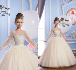 Wholesale Luxurious Communion Dresses - Luxurious 2017 Arabic Flower Girl Dresses Sheer Neck Beaded Sequins Child Wedding Dresses Vintage Little Girl Pageant Dresses FG01