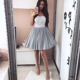 Wholesale Sweetheart Strap Top Gowns - 2018 Newest Lace Tulle Short Homecoming Dresses Gray Sweet A Line Sweetheart Appliqued Top Mini Cocktail Gowns Graduation Dresses