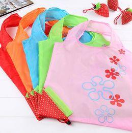 Симпатичные многоразовые торговые столы онлайн-симпатичные клубника сумки Эко многоразовые сумка складной хранения продуктовые сумки Сумка многоразовые эко-сумки KKA1987