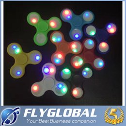 Wholesale light up spin top - 2017 LED Light Up Hand Spinners Fidget Spinner Top Quality Triangle Finger Spinning Top Colorful Decompression Fingers With Powder Switch