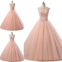 Wholesale Maternity Dresses For Special Occasions - Blush Pink Quinceanera Dresses Ball Gown Jewel Neck Beaded Tulle Floor Length Pageant Gowns For Girls Special Occasion Prom Dresses
