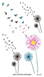 Wholesale Colored Tattoos - Wholesale- RC2252 Waterproof Tattoo Sticker Colored Dandelion Birds Flying Temporary Tattoo Foil Decal Body Art Fake Tattoo Sticker