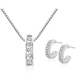 Wholesale Letter O Necklace - 925 Silver Pendant Necklace Earrings Set Luxury Gold The Letter O C Necklaces & Pendants with AAA Zircon For Women Anniversary Jewelry