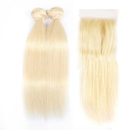 Wholesale Hair Color Roots - DOHEROINE Hair 613 Straight Virgin Hair 2 Bundles With Lace Closure Roots Blonde Brazilian Human Hair Weaves With 4*4 Lace Closure