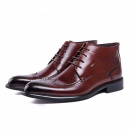Wholesale Comfortable Mens Black Dress Shoes - new style fashion mens ankle boots genuine leather comfortable Italy designer men dress shoes for wedding
