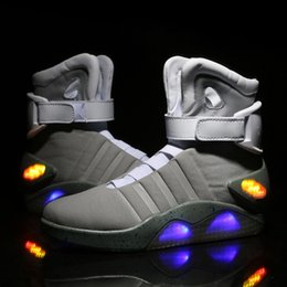 Wholesale Air Mags - Limited Edition Air Mag Back To The Future Glow In The Dark Gray Sneakers Marty McFly's LED Shoes Black Mag Marty McFlys Boots With Box