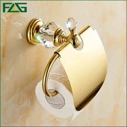 Wholesale Crystal Tissue Box - FLG Free Shipping Crystal & Brass Gold Paper Box Roll Holder Toilet Gold Paper Holder Tissue Box Bathroom Accessories G405