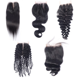 Wholesale Deep Wave Closures - Peruvian Virgin Human Hair 4x4 Lace Closures Straight Deep Loose Body Wave Mongolian Kinky Curly Malaysian Indian Brazilian Human Hair