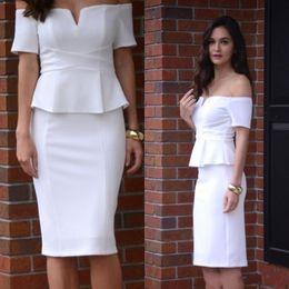 671dc1459 vestido blanco elegante corto Rebajas Blanco Elegante 2017 Barato Short  Sheath Vestidos de cóctel Mancha blanca