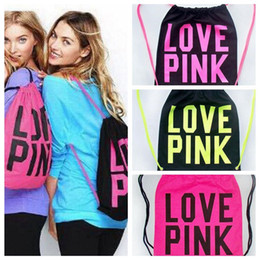 Wholesale Drawstrings Bags - Pink Letter Drawstring Bag Canvas Rope Bag Bundle Bags Printing Travel Softback Women Tote Backpacks OOA3453