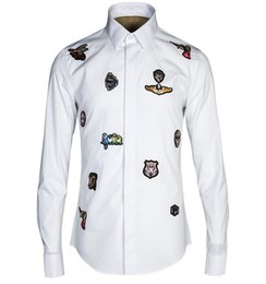 Wholesale Badge Embroidery Designs - Wholesale- Brand Shirt Men 2016 Fashion Design Badge Embroidery Mens Dress Shirts Casual Slim Fit Long Sleeve Cotton Chemise Homme White