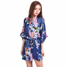 Wholesale Sexy Plus Size Robe Lingerie - Wholesale- Navy Blue Chinese Women Silk Rayon Mini Robe Sexy Kimono Bath Gown Intimate Lingerie Pajama Plus Size S M L XL XXL XXXL ZS026