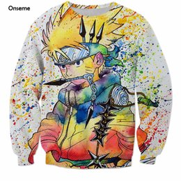 rainbow painting Promo Codes - Wholesale- Size S-6XL Rainbow Paint Naruto 3D Sweatshirt Mens Anime Crewneck Pullovers Harajuku Hip Hop Outerwear Galaxy Sweatshirts