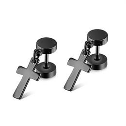 Wholesale Dangle Cross Stud Earrings - Barbell Cross Small Dangle Earring in Stainless Steel - Silver, Gold, Black
