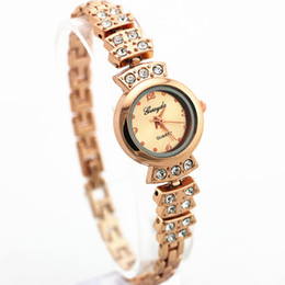 Wholesale Crystal Case Glass - Free shipping!Crystal deco metal band,gold plating round case,gold dial,quartz movement,gerryda fashion woman lady bracelet style watches