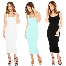 Wholesale Plain Maxi Dresses - Summer Sarafan Womens Pencil Dress Plain Bodycon Chiffon Ladies Long Dresses U-Neck Sleeveless Beach High Waist Maxi Sundress Sarafan