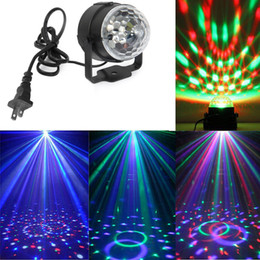Wholesale Lighting Ball Voice Control - Voice control Mini RGB LED Crystal Magic Ball Stage Effect Lighting Lamp Party Disco Club DJ Bar Light Show 110v -240V voice-activated lamp