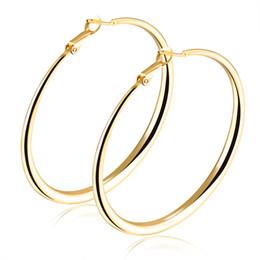 Wholesale Hoop Earrings Diameter - 2017 New Fashion 2017 New Fashion Silver Gold Tone Round Hoop Earrings with Clip-Back 40mm-70mm Diameter Birthday Christmas Gift