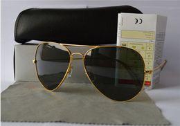 Wholesale Large Sunglasses Case - 2pcs Classic Pilot Sunglasses Designer Large Metal 58mm   62mm sunglass Come With Box And Cases