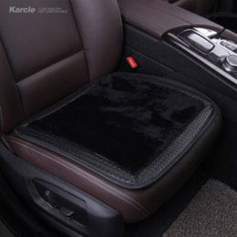 Wholesale Sheepskin Car Cushion - Karcle Sheepskin Fur Car Seat Covers Wool&Leather Seat Cushion for Winter Anti-Skid Pad Protector Car-styling Auto Accessories