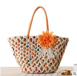 Wholesale Cheap Woven Bags - Hot Sale Summer Holiday Travel Shoulder Bags Beach Bags Bohemian Woven Straw Handbags Cheap High Quality Beach Bag Free Shipping