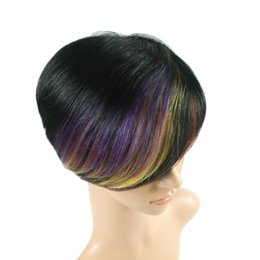 Wholesale Black Purple Short Wig - Cheap Short Human Hair Ombre Wigs Bob Style Blonde Brown Red Black Purple Remy Brazilian Human Hair Capless Wigs Machine Made Straight Wig