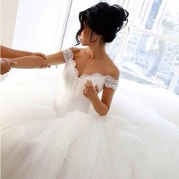 Wholesale Pure White Crystal Wedding Dresses - Romantic pure white tulles formal Ball gown Lace wedding dresses sexy off the shoulder backless long court train puffy church bridal gowns