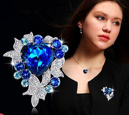 Wholesale Rhinestone Blue Moon Pin - Large Size Heart of Ocean Women Brooches With Royal Blue Crystal Wedding Elegant Prom Party Gift Jewelry
