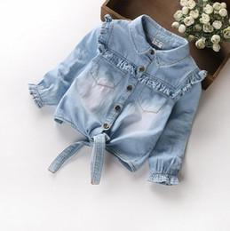 Wholesale Denim Girl Outwear - Baby Girls wash blue Denim Jackets Coats Fashion Children Outwear Coat flower Kids Denim cowboy Jacket