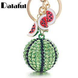 Portachiavi verde online-Beijia creativo verde cocomero palla ciondolo anello portachiavi in metallo portachiavi portachiavi per le donne borsa auto portachiavi K340