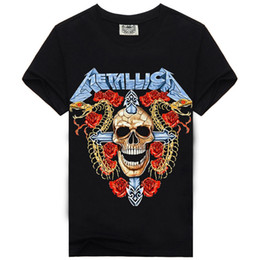 Wholesale Rock Cotton - 2017 Rock Music Metallica Skull New Style Fashion T-shirt Men's T Shirt Cotton High Character Screen Print Hip Hop Tees