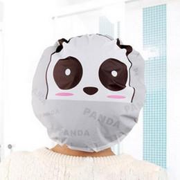 Wholesale Waterproof Spa Hats - Wholesale- Cute Cartoon Panda Lady Waterproof Hair Bathing Cap Spa Bath Shower Cap Hat Bathroom Accessories