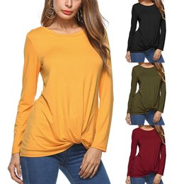 Wholesale Xl Blouse For Women Cheap - Bold Color Twisted Knot T-Shirts For Women Loose Long Sleeve Rushed Blouses and Tops Supplier Wholesale Cheap DHL Fast Shipping S-XL