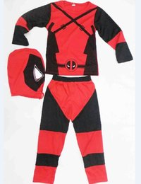 Wholesale Deadpool Costume For Kids - Deadpool Costume Halloween Costume For Kids Role-Playing Deadpool Costume Cosplay Long Sleeve Clothing Set For Boys