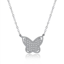 Wholesale Price Cubic Zirconia - Fashion jewelry 925 Sterling Silver Butterfly Necklace High quality Fashion popular necklace wholesale price fine silver necklace for women